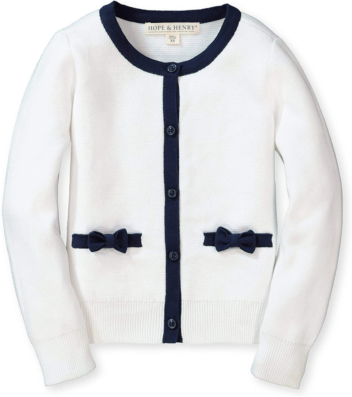 Hope & Henry Girls' Long Sleeve Bow Detail Cardigan Sweater