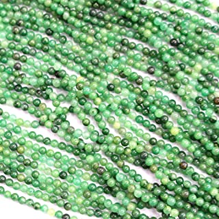 Natural Genuine Real Round 2mm Gemstone Jewelry Making Loose Beads (African green jade)