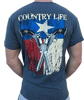Country Life Texas Flag and Guns Gray Short Sleeve Shirt