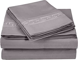 Superior Regal Greek Key Embroidered Sheets, Luxurious Silky Soft, Light Weight, Wrinkle Resistant Brushed Microfiber, King Size 4-Piece Sheet Set, Silver
