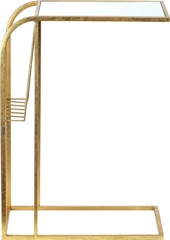 Creative Co-Op 全国一律送料無料 Metal Side Magazine Rack Gold C-Ta Top and Glass 豊富な品
