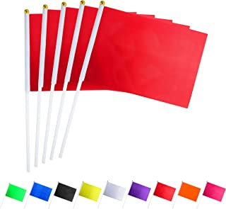 Consummate 25 Pack Solid Red Flag Small Mini Plain Red DIY Flags On Stick,Party Decorations for Parades,Grand Opening,Kids Birthday,Party Events Celebration