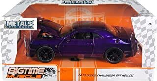 2015 Dodge Challenger SRT Hellcat Purple with Black Stripes Big Time Muscle 1/24 Diecast Model Car by Jada 31063