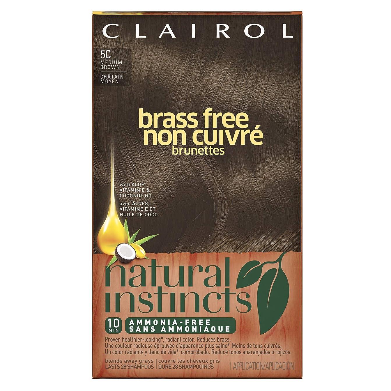 報いるデータ正規化Clairol 自然本能真鍮無料ヘアカラー、ミディアムブラウン[5C] 1 Eaは(6パック) 6パック 褐色
