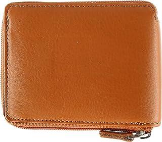 CTM Men's Leather RFID Zip-Around Wallet with Interior Flip Page