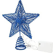 CVHOMEDECO. Light Blue Glittered 3D Tree Top Star with Warm White LED Lights and Timer for Christmas Tree Decoration and H...