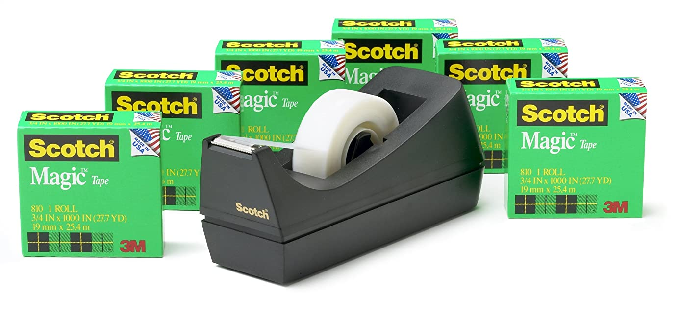 Scotch Magic Tape with Black Dispenser, Standard Width, Numerous Applications, Invisible, Engineered for Repairing, Great for Gift Wrapping, 3/4 x 1000 Inches, Boxed, 6 Rolls, 1 Dispenser (810K6C38)