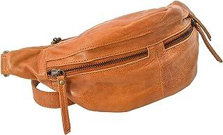 Gusti Bauchtasche Damen Leder - Acton Gürteltasche Cross Body Bag Hüfttasche Leder Braun Reißverschluss Damen Herren Cognac Braun