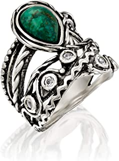 PZ Paz Creations 925 Sterling Silver Eilat Stone Statement Ring   Chrysocolla and White Topaz Gemstone   Textured Design Bohemian Jewelry for Women