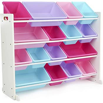 Tot Tutors WO574 Forever Collection Wood Toy Storage Organizer, X-Large, White/Blue/Pink/Purple