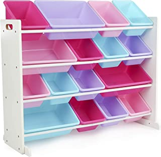 Humble Crew, White/Blue/Pink/Purple Extra-Large Toy Organizer, 16 Storage Bins