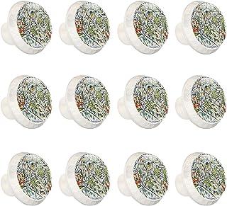 Boutons D'armoire 12 Pcs Poignés Poignée De Champignons Porte Poignées avec Vis pour Cabinet Tiroir Cuisine,Fleurs Floral ...