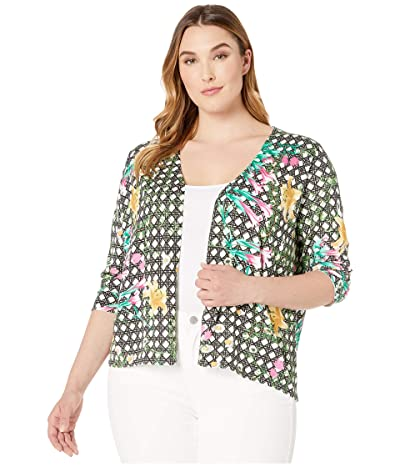 Foxcroft Plus Floral Wicker Print Cardigan (Multi) Women