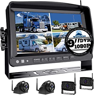 "$453 » Wireless 9"" Large DVR Monitor Backup Camera 1080P System for RV semi Box Truck Trailer Rear and Side View System Quad HD C..."