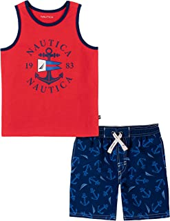 NAUTICA Baby Boys' 2 Pieces Tank Top with Swim Shorts Set, High Risk Red/Blue Depths, 18M