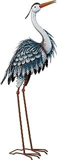 TERESA'S COLLECTIONS 33.8 inch Garden Sculpture Standing Heron Metal Statue for Outdoor Decor, Blue Crane Sculpture Bird Y...
