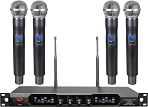 innopow 4-Channel Wireless Microphone System,Quad UHF Metal Cordless Mic, 4 Handheld Mics,Long Distance150-200Ft,Fixed Frequency