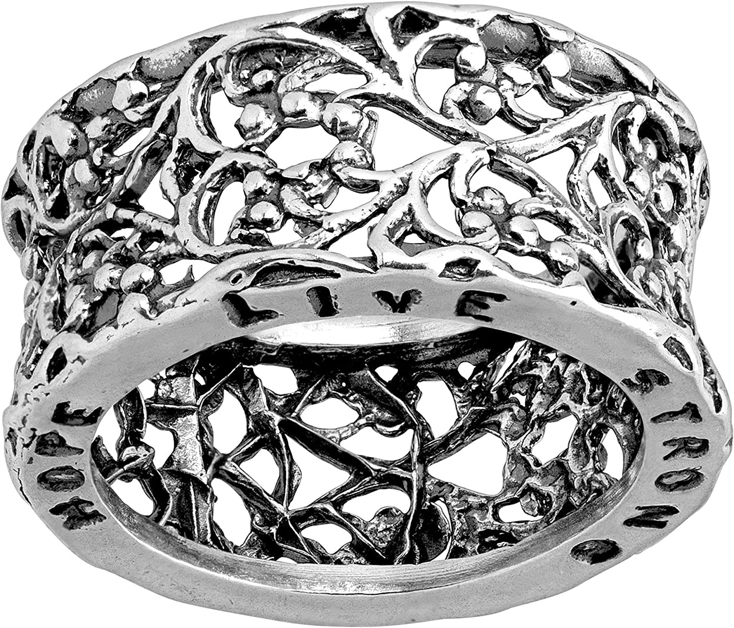 Austin Cheap mail order shopping Mall Silpada 'Hope Live Strong' Filigree Ster Engraved Band in Ring