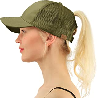 bfb40c27829 C.C Ponytail Messy Buns Trucker Ponycaps Plain Baseball Visor Cap Dad Hat