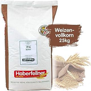 Weizenvollkornmehl 25kg von Haberfellner | 25kg Mehl Sack | Nährstoffreiches Weizenmehl geeignet als Brotmehl und für Kuchen | Hohe Qualität ohne Gentechnik und pestizid-kontrolliert