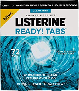 Listerine Ready! Tabs Chewable Tablets with Clean Mint Flavor, 72 ct.