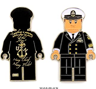 US Navy Chief Petty Officer in Black or White Chief Dress Mess, Navy Chief Navy Pride Challenge Coin - Choose from 4 Different Options (M-BLK)