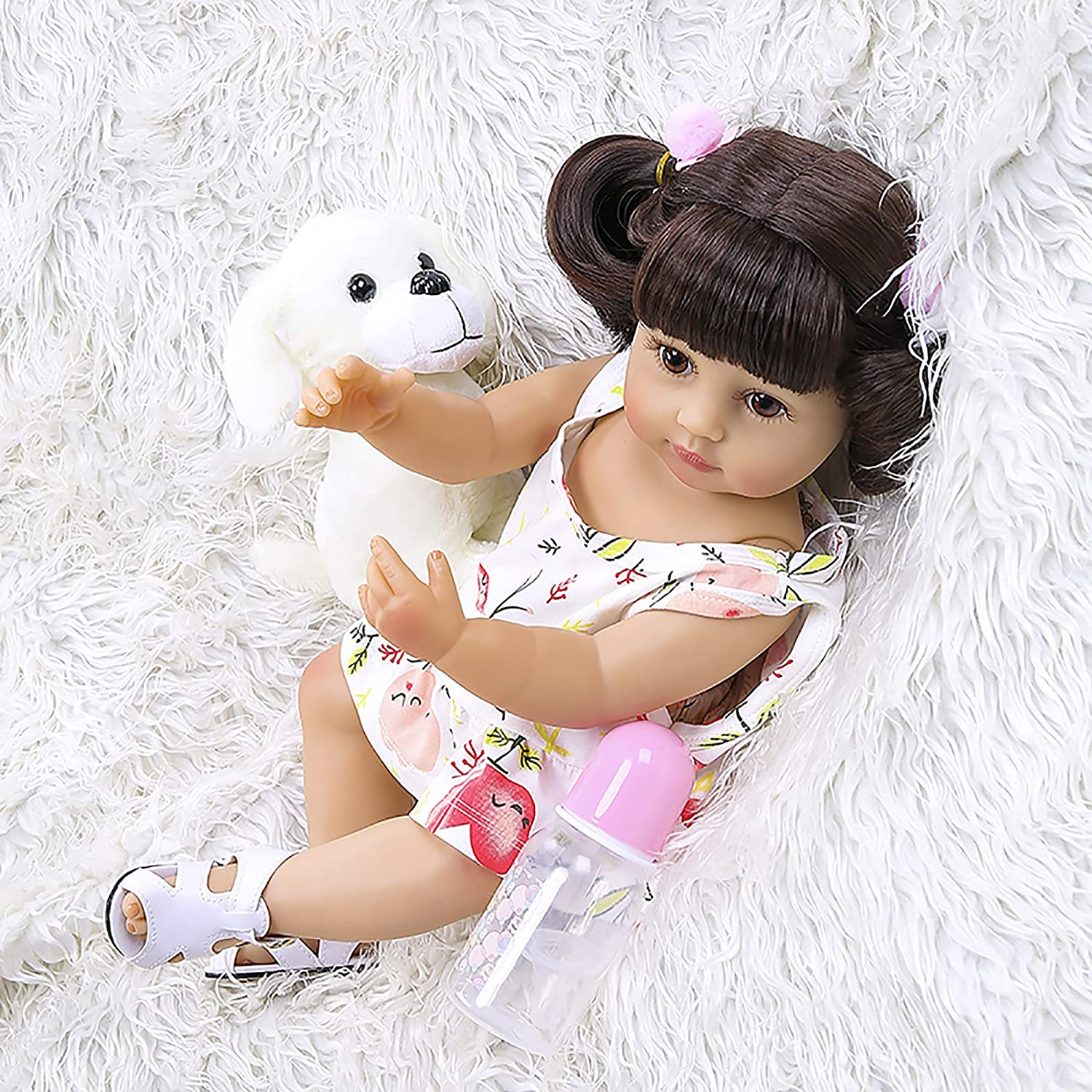 22inches Full Simulation Girl Surprise price Doll in Luxury goods Soft Polka Dot Sili Dress