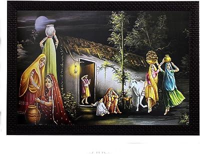 eCraftIndia 'Village Lady Group' Art Painting (Synthetic Wood, 36 cm x 1 cm x 51 cm)