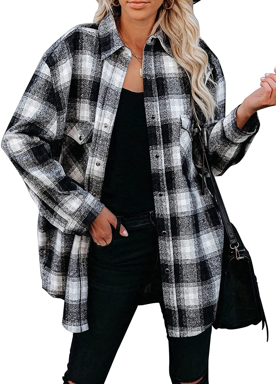 Happy Sailed Women Classic Plaid Button Down Boyfriend Long Sleeve Shirts Blouses Tops(S-XXL)