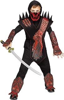Fun World Skeleton Dragon Ninja Red Costume, Medium 8 - 10, Multicolor