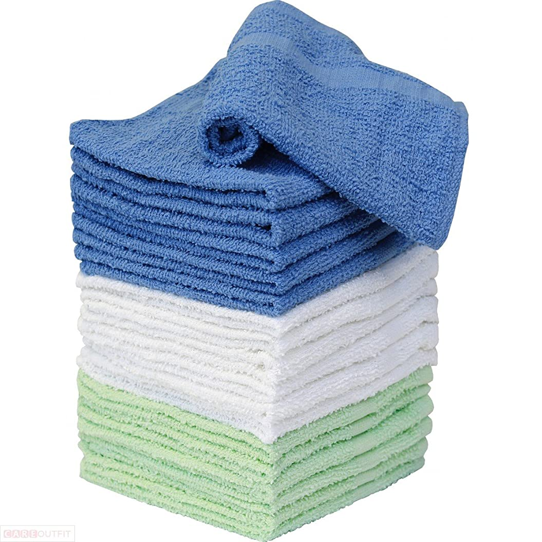 こどもセンター宙返り迅速(white and blue) - Washcloth Towels - 100 Percent Cotton - 18 Pack - 9 White and 9 Blue