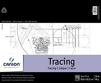 """Canson foundation series tracing pad, 14"""" x 17"""", fold-over cover, 50 sheets (100510962)"""