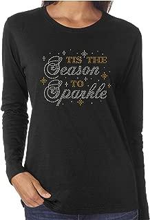 Tis The Season to Sparkle Women's Rhinestone Long Sleeve Shirts