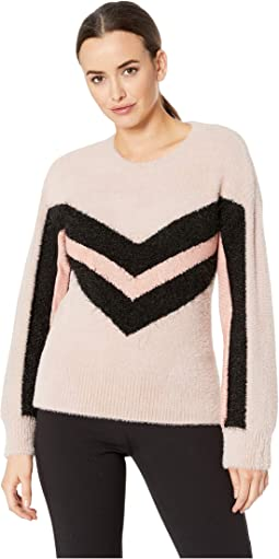 Long Sleeve Tinsel Crew Neck Chevron Sweater