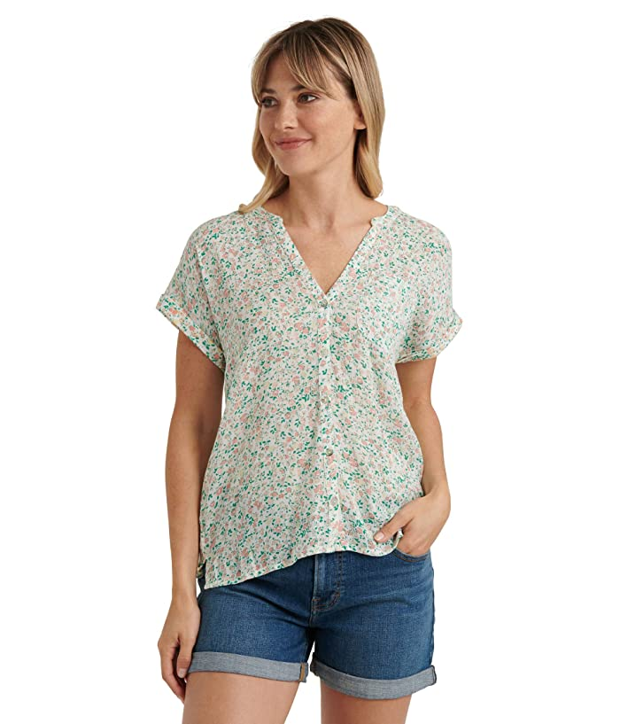 Lucky Brand  Short Sleeve V-Neck Button-Up Woven Mix Top 1 (Multi) Womens Clothing