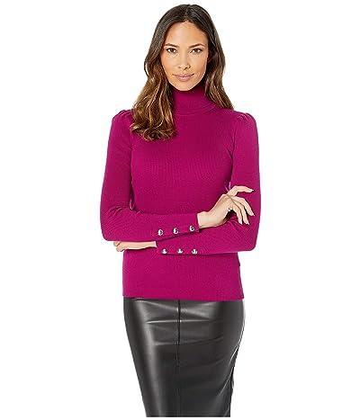 LAUREN Ralph Lauren Puff-Sleeve Turtleneck Sweater (Bright Claret) Women