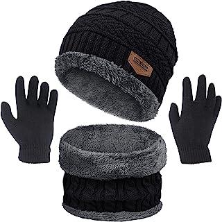 3 Pcs Boys Girls Winter Beanie Hat Scarf Gloves Set Thick Knitted Warm Toddler Winter Hat Mittens Neck Warmer for Kids