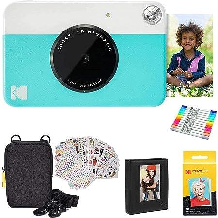 KODAK Printomatic Cámara instantánea (Azul) Paquete de Regalo con Papel fotográfico Zink (20 Hojas) y más