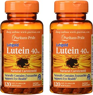 Puritans Pride Lutein 40 mg with Zeaxanthin 120 Softgels (2 Pack)