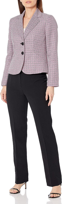 Le Suit Women's 2 Button Notch Collar Textured Plaid Pant Suit
