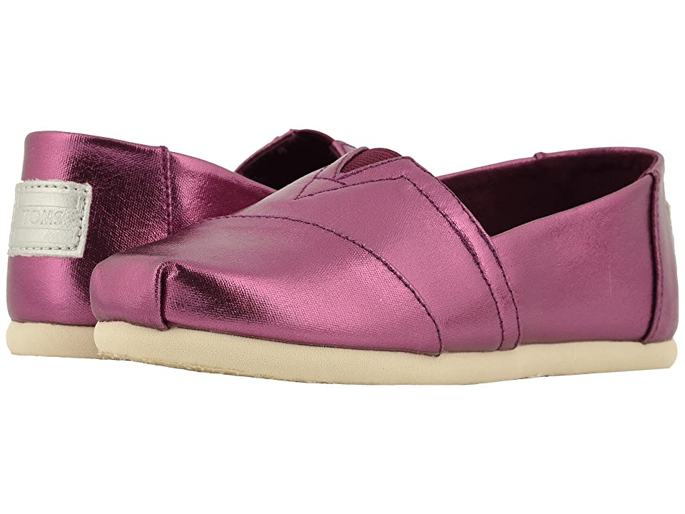 TOMS Kids Alpargata (Little Kid/Big Kid) (Plum Metallic Canvas) Girl