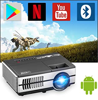 Mini Wireless Projector with Wifi and Bluetooth, Portable Home Theater Projector Smart Android Projector with HDMI USB VGA...