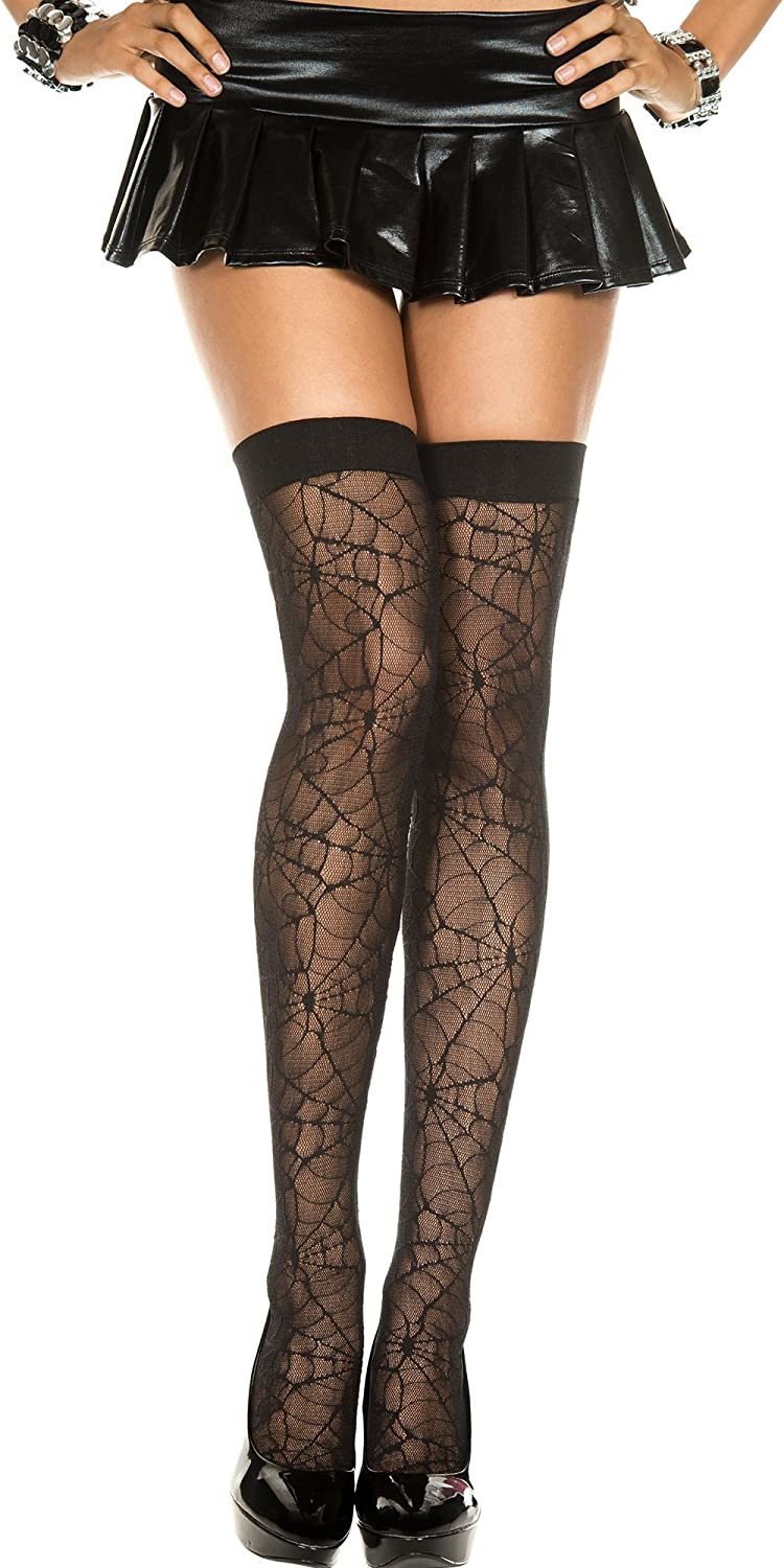 Challenge the lowest price Music Legs Discount is also underway Plus size spiderweb thigh hi lace