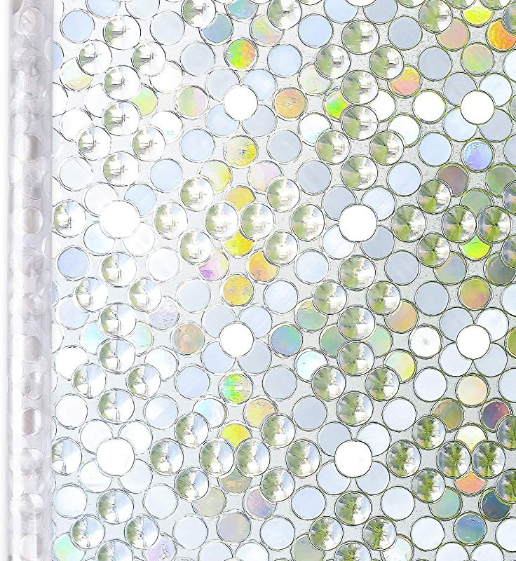 Homein Window Film Privacy 3D Bubble Decorative Stained Glass Window Film Rainbow Effect Removable Self Adhesive Glass Sticker Static Cling Window Paper Block UV For Kitchen 35 4x78 7inches