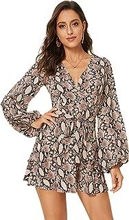 SheIn Women's V Neck Leopard Print Long Sleeve Split Tie-Waist Wrap Shift Dress