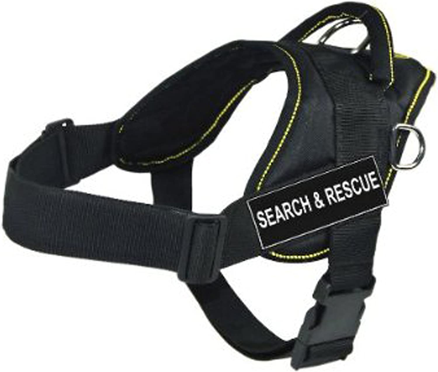 Dean & Tyler DT Fun Works Harness, Search and Rescue, Black With Yellow Trim, Large  Fits Girth Size  32Inch to 42Inch