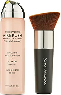 MagicMinerals AirBrush Foundation by Jerome Alexander – 2pc Set with Airbrush Foundation and Kabuki Brush - Spray Makeup with Anti-aging Ingredients for Smooth Radiant Skin (Medium)