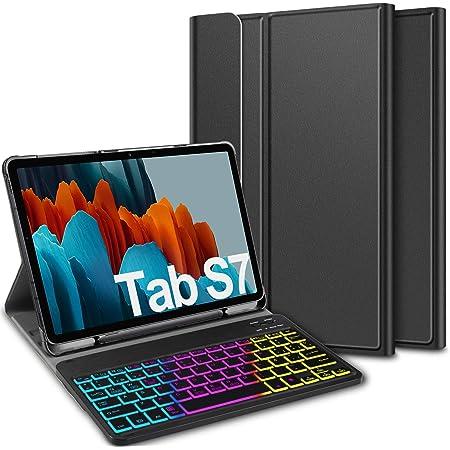 ELTD Teclado Estuche para Samsung Galaxy Tab S7 (SM-T870/875) 11 Pulgada,[Español, con la tecla (ñ)], Teclado inalámbrico 7 Colores Cubierta de ...
