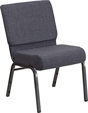 Flash Furniture HERCULES Series 21''W Church Chair in Dark Gray Fabric - Silver Vein Frame
