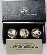 1994 P U.S. Veterans Commemorative 3 Coin Silver Dollar Set Proof OGP